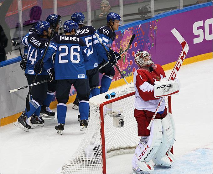 19 февраля 2014 года. Сочи. XXII зимние Олимпийские игры. Хоккей. 1/4 финала. Россия — Финляндия —1:3