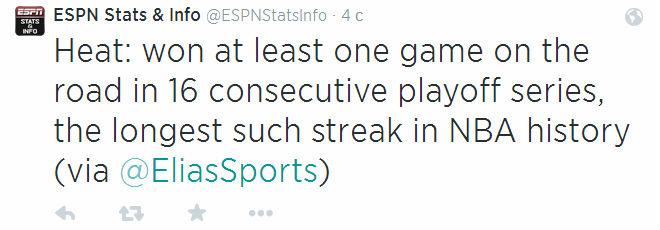 На протяжении 16 серий кряду в плей-офф «Майами» удавалось одержать хотя бы одну победу на выезде.