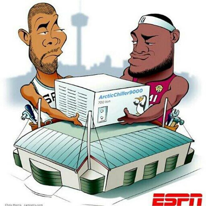 Отличный шарж от ESPN за несколько минут до начала второй игры серии, не находите?