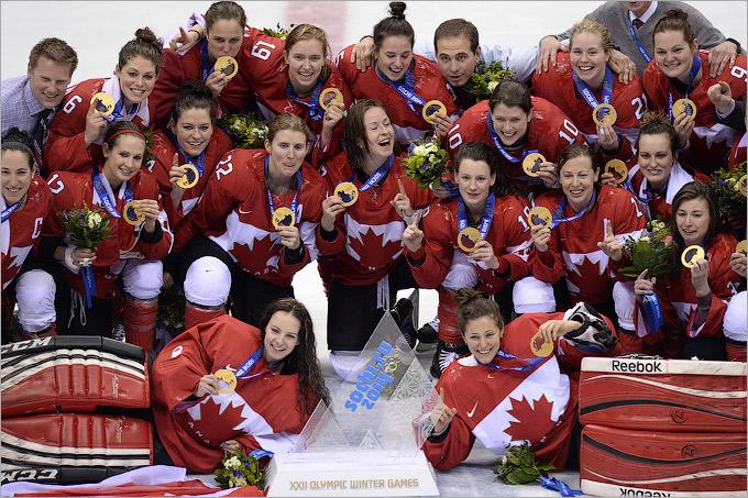 Сборная Канады по хоккею отмечает победу