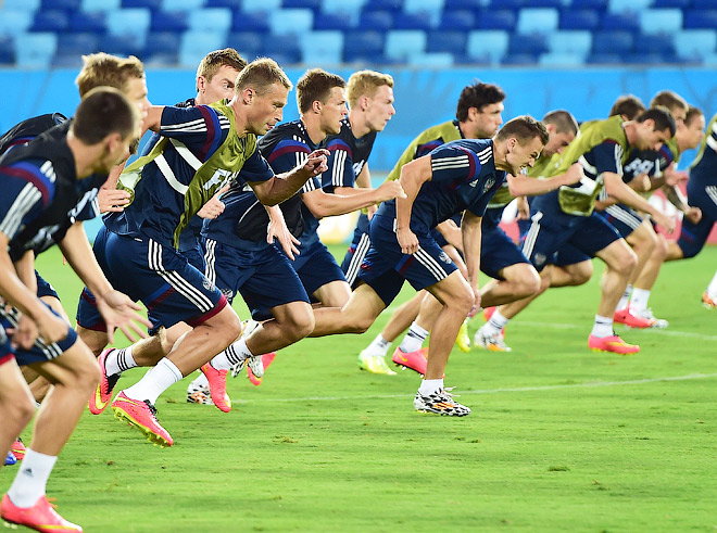 Тренировка сборной России перед матчем со сборной Южной Кореи