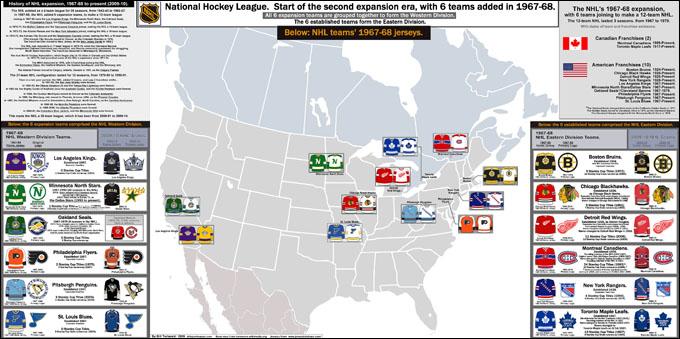Карта НХЛ после расширения до 12 команд