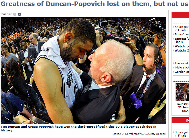 Sports Illustrated: «Величие не интересует Данкана и Поповича, но не нас с вами»