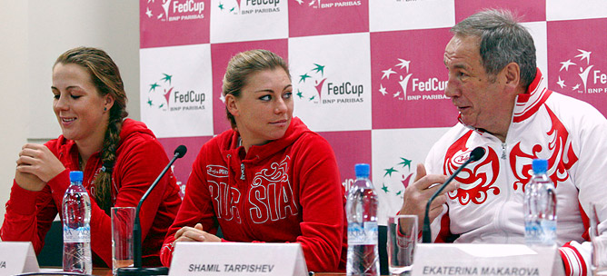 Анастасия Павлюченкова, Вера Звонарёва и Шамиль Тарпищев.