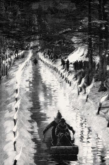 Прародителем скелетона считается спуск с гор на тобоггане (бесполозных деревянных санях), распространённый среди канадских индейцев с 16 века