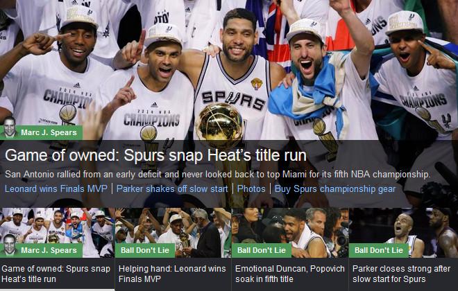 YahooSports!: «Игра владения: «Сан-Антонио» взял титул, огрызнувшись»