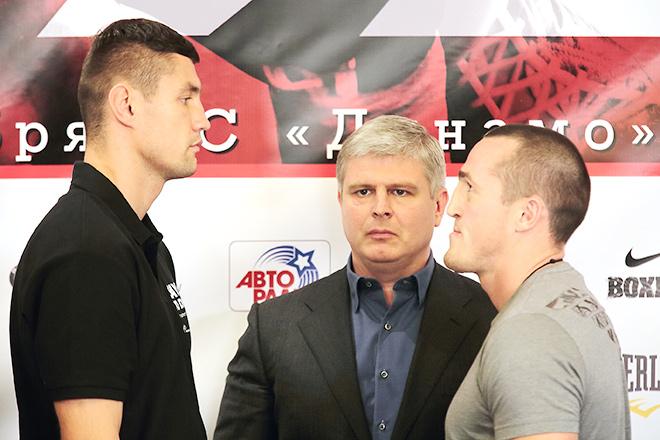 Претендент на титул WBA Павел Колоджей и Чемпион WBA в первом тяжёлом весе Денис Лебедев