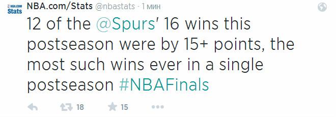 12 из 16 побед в нокаут-раунде «Сан-Антонио» одержал с разницей 15 и более очков – это лучший результат в истории.