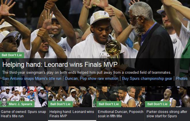 YahooSports!: «Рука помощи: звание MVP выиграл Кавай Леонард»