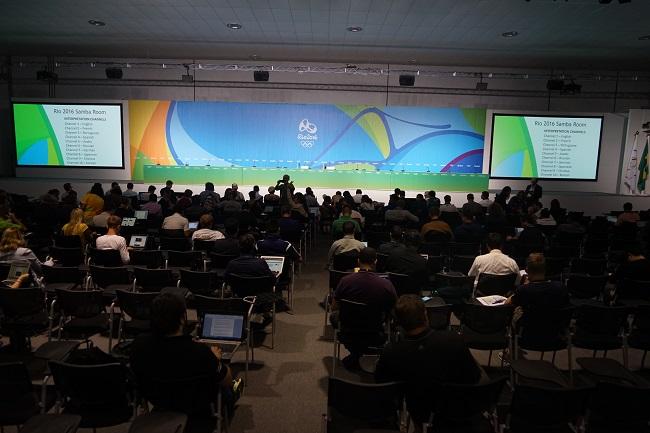 Зал для пресс-конференций перед выступлением Елены Исинбаевой