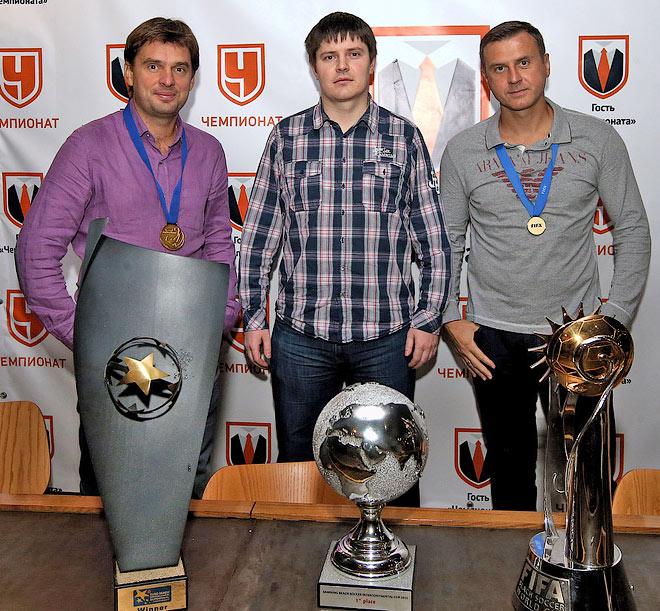 Михаил Лихачёв, журналист «Чемпионата» Андрей Иванов и Дмитрий Горин