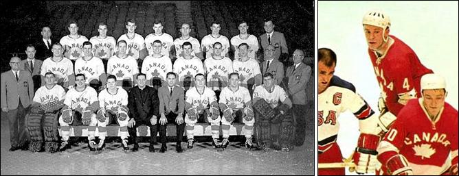 Слева – Барри Маккензи в составе Канады (во втором ряду четвёртый справа). Справа – под № 4