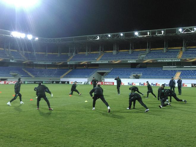 Предматчевая тренировка «Краснодара» на стадионе в Баку