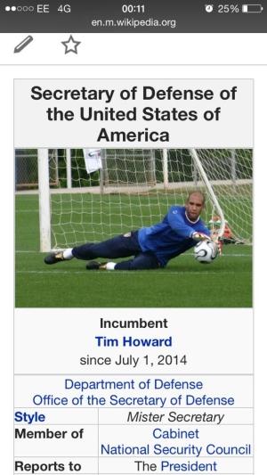 Скриншот страницы министра обороны США в Wikipedia с участием Ховарда