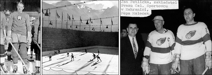 В центре — хоккей на Олимпиаде-1928. Справа — Йозеф Малечек (крайний справа) на ветеранском турнире в Детройте