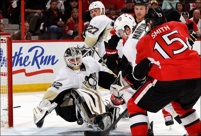 """19 мая 2013 года. Оттава. Плей-офф НХЛ. 1/4 финала. Матч № 3. """"Оттава"""" — """"Питтсбург"""" — 2:1 (2 ОТ). """"Оттава"""" сокращает разрыв в счете серии"""