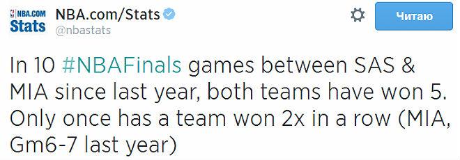 Из 10 встреч в финалах НБА «Майами» и «Сан-Антонио» выиграли по 5, но только подопечным Эрика Споэльстра удалось победить дважды кряду.