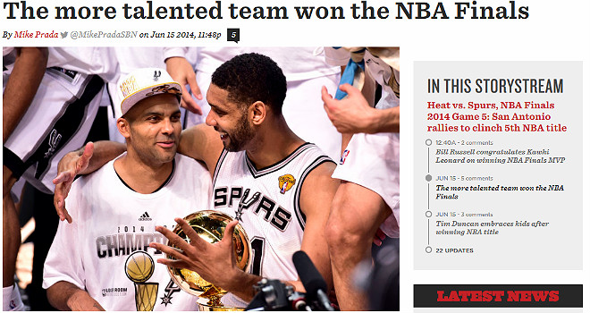 SB Nation: «Финал НБА выиграла наиболее талантливая команда»