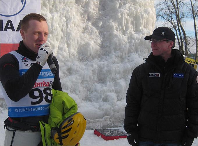 Чемпион мира по ледолазанию Егор Трапезников и председатель федерации альпинизма и скалолазания Кировской области