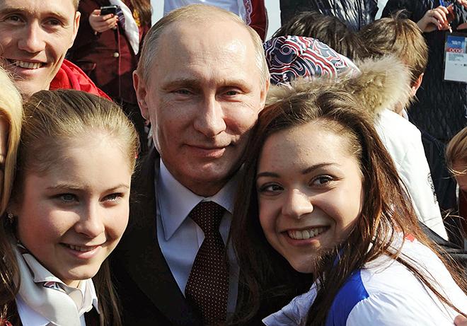 Юлия Липницкая с президентом РФ Владимиром Путиным