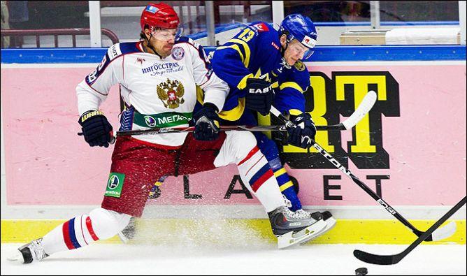 21 апреля 2011. Мальмё. Еврохоккейтур. Швеция — Россия — 2:4. В атаке — Евгений Артюхин.
