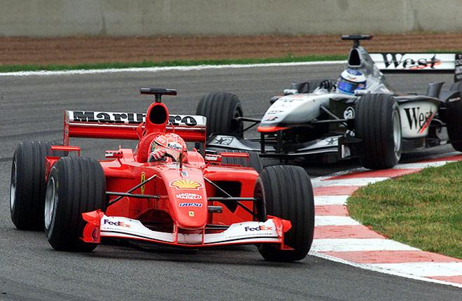 М. Шумахер и Хаккинен на Гран-при Испании