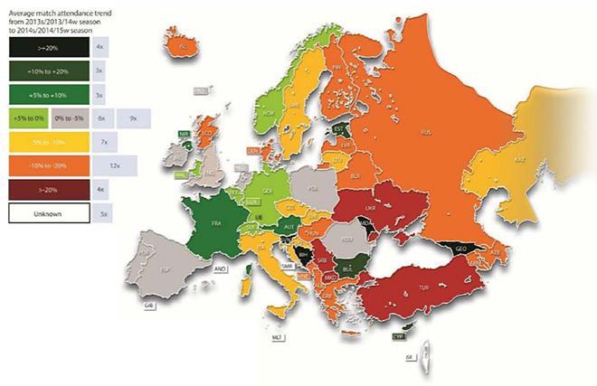 Карта изменения посещаемости матчей европейских лиг в 2014 году