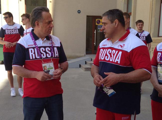 Виталий Мутко и главный тренер сборной России по греко-римской борьбе Гоги Когуашвили