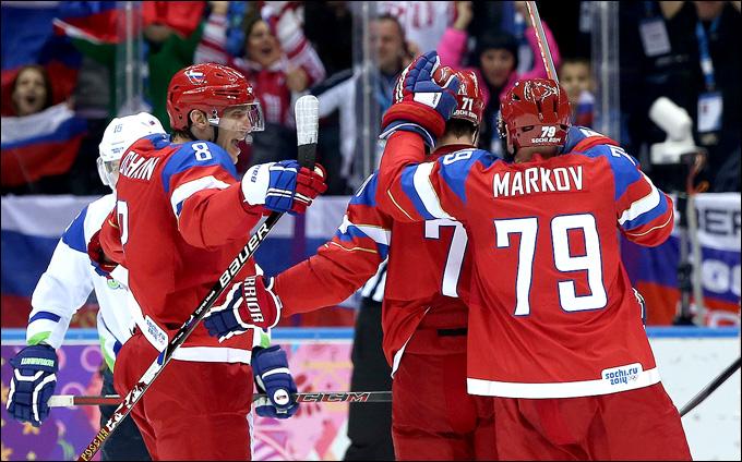 13 февраля 2014 года. Сочи. XXII зимние Олимпийские игры. Хоккей. Групповой этап. Россия — Словения — 5:2. Есть первая победа!
