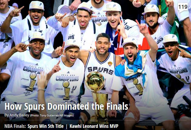 Bleacher Report: «Как «Сан-Антонио» доминировал в финале»
