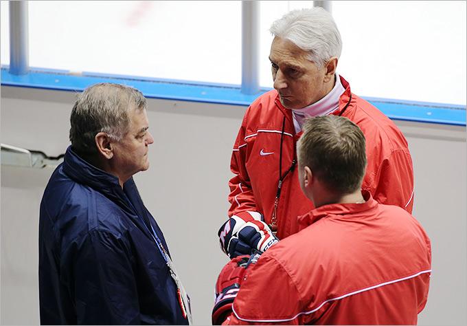 Тренировка хоккейной сборной России