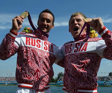 Олимпийские чемпионы по гребле Александр Дьяченко и Юрий Постригай