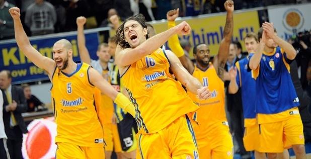 """Баскетболисты """"Химок"""" радуются победе над """"Фенербахче"""""""