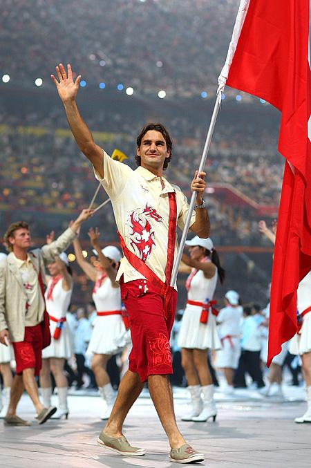 Роджер Федерер на открытии Игр 2008 года