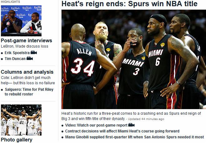 Miami Herald: «Окончание царства «Майами»: титул взял «Сан-Антонио»»