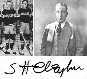 Слева направо: Братья Клегхорны, Спраг Клегхорн по окончанию карьеры, внизу — автограф Спрага Клегхорна