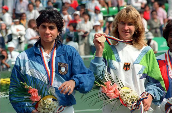 Габриэла Сабатини (слева) и Штеффи Граф