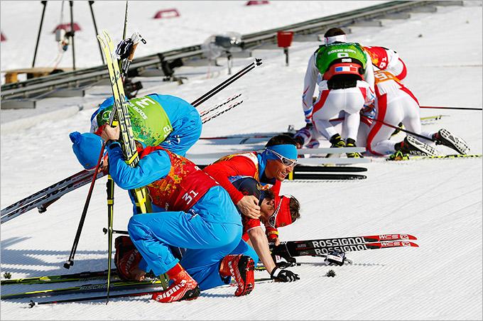 Второе место лыжников-мужчин в эстафете
