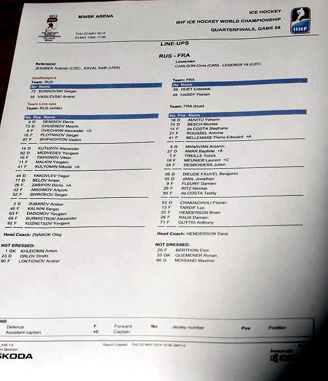 Стартовый протокол матча Россия — Франция