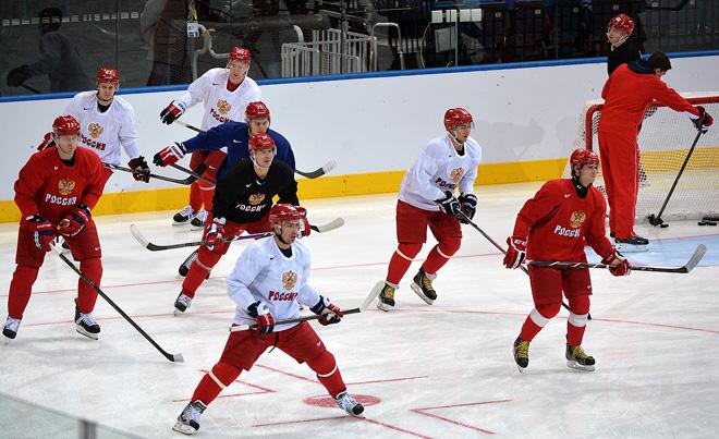 8 мая 2014 года. Минск. Тренировка сборной России перед началом чемпионата мира