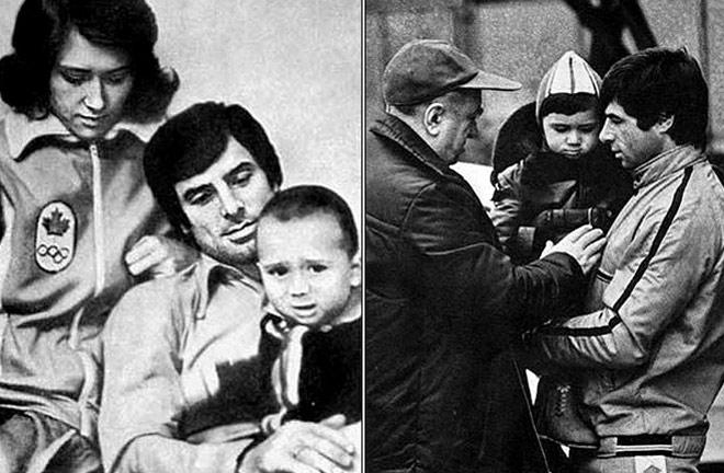 Валерий Харламов с женой и сыном и с Анатолием Тарасовым
