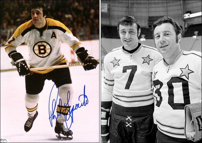 Фил Эспозито. Справа - с братом Тони на матче Всех звезд НХЛ.