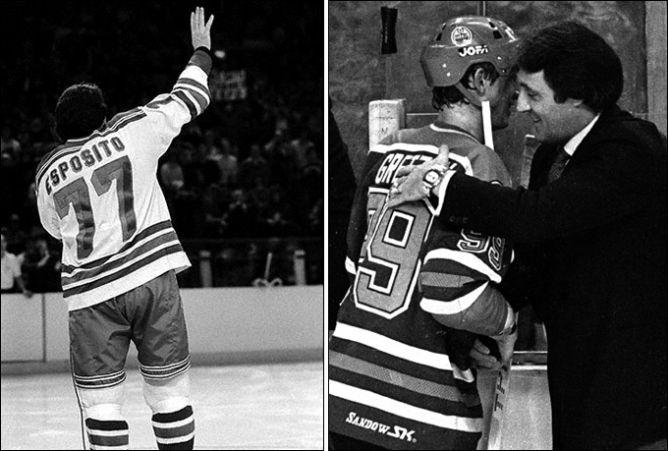 9 января 1981 года. Прощание Фила Эспозито с хоккеем и нью-йоркскими болельщиками. Слева: 1982 год, Гретцки и Эспозито - передача эстафеты.