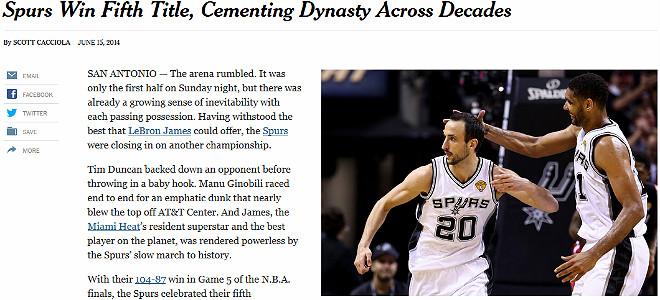 The New York Times: ««Спёрс» выиграли пятый титул, пронеся свою династию через декаду»
