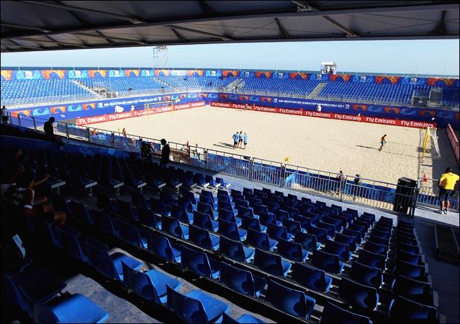 Пляжная арена Кубка мира в ожидании начала песочных баталий