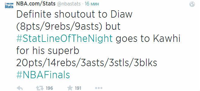 Отдавай должное статистической линии Бориса Диао, официальный сайт НБА признаёт лучшим игроком матча Кавая Леонарда.