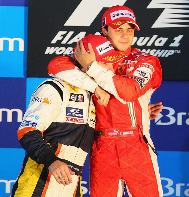 Алонсо и Масса на Гран-при Бразилии — 2008