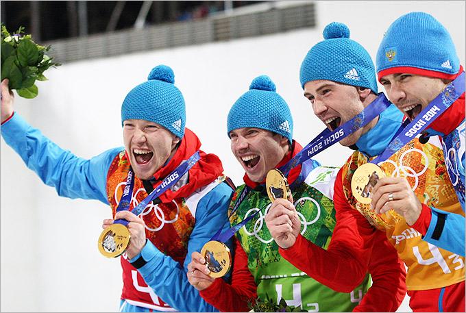 Сборная России с золотыми медалями