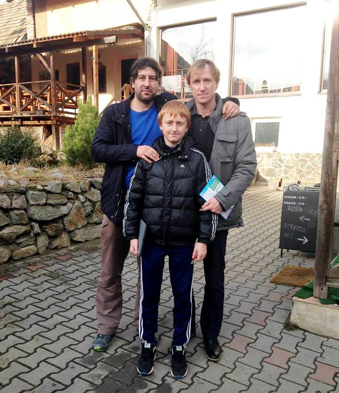 Сергей Филиппенков с сыном Максимом и партнёром по ЦСКА Мареком Холли