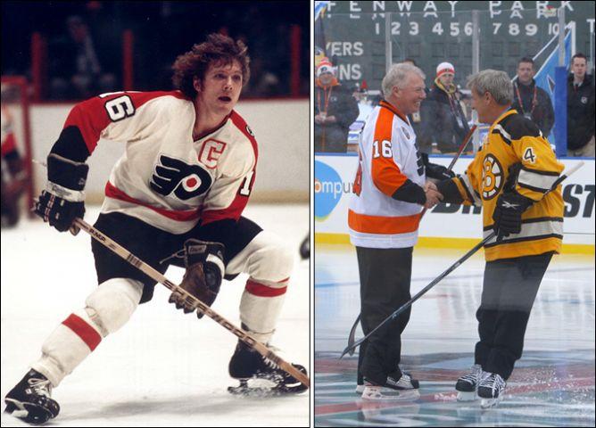 """Слева: таким Бобби Кларк остался в памяти болельщиков. Справа: 1 января 2010 года. Бостон. """"Зимняя классика"""". Легенды и тезки - Кларк и Орр."""